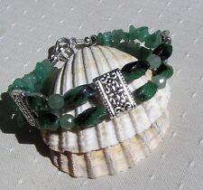 "Green Agate & Green Aventurine Crystal Gemstone Bracelet ""Woodland Fern"""