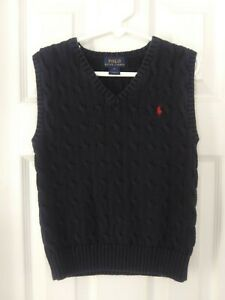 Boy's Polo Ralph Lauren Boys Navy Blue Sweater Vest Sz 6