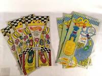 McDonalds 1994 1995 Hot Wheels Barbie Lot 6 Happy Meal Paper Bags Gift Party Bag