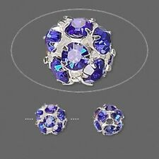 10 Silver Plated Brass Blue Rhinestone Crystal 8mm Round Beads *