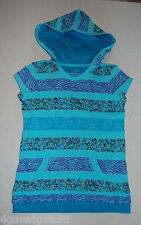 Girls Tee Shirt AQUA PURPLE Zebra Stripe HOODIE Layered Look SHORT SLEEVE S 6-6X