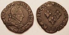 Henri III (1574-1589), Double tournois 1587 P Dijon, TTB+ !!