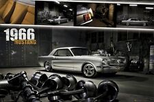 FORD MUSTANG POSTER ~ 1966 GARAGE 24x36 Autos Car Silver 0387