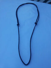 BLACK LEATHER CORD SLIDING KNOT ADJUSTABLE CHOKER NECKLACE
