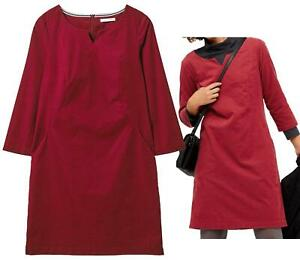 Womens WHITE STUFF Mari Rich Cotton Cord Tunic Dress In JAPAN RED LINED 8-14
