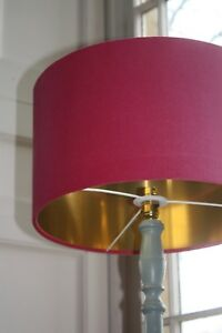 Lampshade, Hot Pink (Fuchsia Pink) Velvet with Brushed Gold or contrast Lining