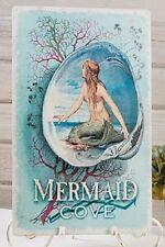 Mermaid Cove Seashell TIN SIGN metal wall art coastal nautical home decor OHW