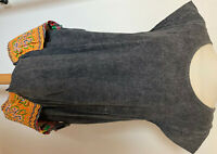 Unusual Women's Cotton Summer Dress Size L Grey Mottled with Colorful Pockets