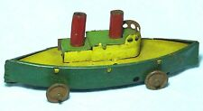 RARE SUPERB PENNY TOY TIN PLATE 2 FUNNEL BOAT ON WHEELS C1910-20S