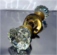 Antique / Vintage Brass & 12 Point Glass Door Knob w/ Spindle