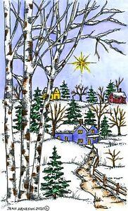 Winter Wonderland Country Scene Wood Mounted Rubber Stamp NORTHWOODS NN10866 New