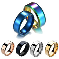8MM STAINLESS STEEL MENS WOMENS WEDDING ENGAGEMENT ANNIVERSARY RING BAND STRICT