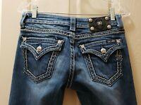 "Miss me women's denim boot cut jeans. Distressed Size 27X31  Rise 8""  Stretch"