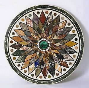 Round Marble Inlay Coffee Table Top with Multi Color Stones Royal Dining table