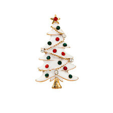 "Gold-tone Jeweled WHITE CHRISTMAS TREE Brooch 2"" x 1-1/4"""