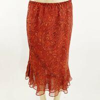 Paisley Print Red/Orange Color Midi Skirt Size 10