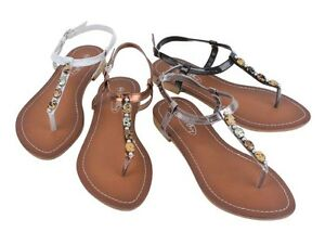 New Women's Faux Stone Ankle Strap Beaded Sandals Shoes Thongs w/ rubber sole