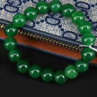 Natural 10mm Dark Green Jade Round Gemstone Beads Stretchy Bangle Bracelet