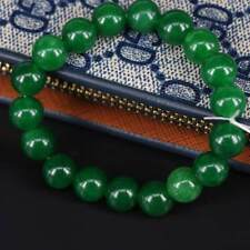 Natural 10mm Dark Green Jade Round Gemstone Beads Stretchy Bangle Bracelet