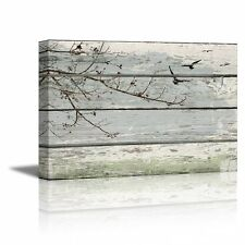 """Abstract Wall Art Tree Branches with birds on Vintage Wood Background- 16"""" x 24"""""""