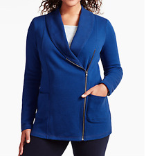 TRENDY TALBOTS WOMEN'S BLUE LONG SLEEVE FRONT ZIP PYRAMID JACKET PLUS Sz 3X