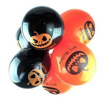 """10 x 12"""" Lattice Palloncini Zucca Arancione/Nero per Halloween elio o aria"""