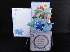 "Happy Birthday Pop Up Box Card ""DINOSAUR"" ""GRANDSON"" (Handmade)"