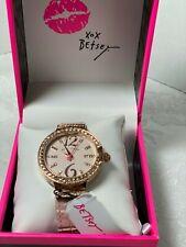 Betsey Johnson Pink Champagne Crocodile Bling Watch 36 mm NIB$85.00