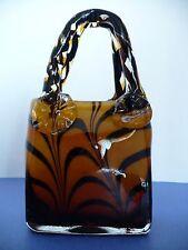 "Murano Tiger Stripe Design Glass Handbag Purse. Italy Italian Glass Art. 7.75"" T"