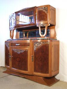 EF1048 Prunkvolles 3-teiliges Aufsatz Buffet Schrank aus Nussbaum um 1930