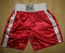 Everlast Xxl Polyester Satin Shiny Red/White Boxing Trunks Shorts-Euc-Xxl