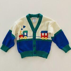 Vintage Baby Boy 18 Months Cardigan Sweater Acrylic Train Colorblock