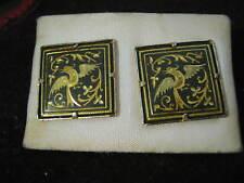 "3/4"" Square Pierced Earrings w/ Birds Toledo Spain Damasquinados de Oro Suarez"