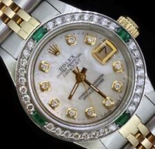 Rolex Lady Datejust Oyster Stainless Gold Diamond Dial Bezel Emerald Watch
