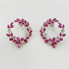 Beautiful Deep Pink Marquise & Pear Shape Ruby With Glossy White CZ Hoop Earring