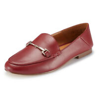 JENN ARDOR Women's Red Flats Penny Loafers Slip On Comfort Driving Office Shoes