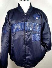 FUBU Athletics Mens Heavy Satin Bomber Jacket Size 2XL Brooklyn Navy Blue Nylon