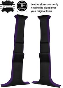BLACK & PURPLE 2 TONE REAL LEATHER 2X B PILLAR COVERS FITS HUMMER H2 03-07