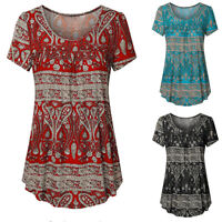 Womens Casual Floral Loose T-Shirt Tunic Tops Ladies Summer Short Sleeve Blouse