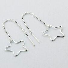 Sterling Silver Star Threads Threader Earrings 20mm Dia., Ball Chain Genuine 925