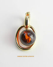 Italian Made Cognac Baltic Amber Pendant in 9ct Gold GP0003  RRP£70!!!