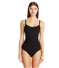 Calvin Klein Women's Solid  Pintucked One-Piece Swimsuit Women's,Black,6    $118