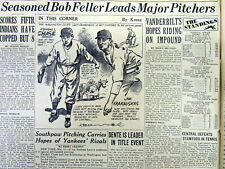 1939 newspaper with Early headline of BOB FELLER with CLEVELAND INDIANS baseball