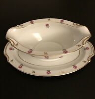 Vintage Original NORITAKE China Rosalie 3052 Gravy Boat w/attached Underplate