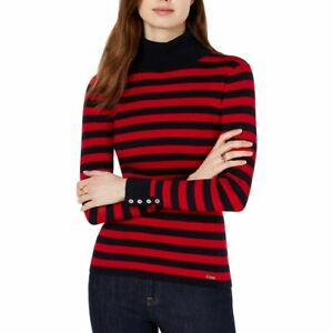 TOMMY HILFIGER NEW Women's Red Black Striped Ribbed Mock Sweater Top XXL TEDO