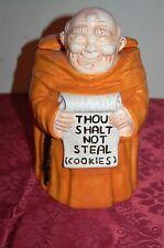 Vintage Monk Cookie Jar ''Thou Shalt Not Steal Cookies'' byTreasure Craft - New