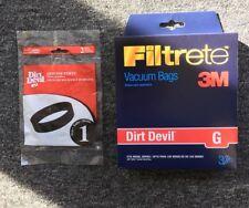 Dirt Devil Type G Vacuum Bags (3-Pack), 3010348001 + 2 Dirt Devil Style 1 Belts