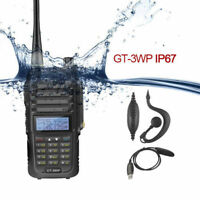 Baofeng GT-3WP + Cable VHF/UHF Dual Band IP67 Waterproof 128CH FM Radio Emisora