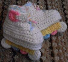 Custom Design Handmade Crochet White/Pastel Aggressive Style Skates Baby Booties