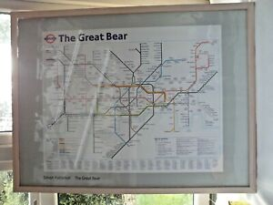 The Great Bear London Underground Map Simon Patterson Wood Framed Rare